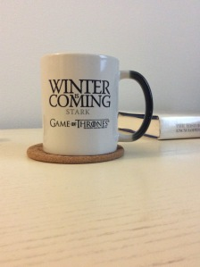 My Winter is Coming mug, which you'll often find me sipping coffee or tea from.
